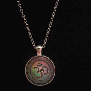 OM Mandela Cabochon Glass Necklace